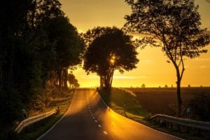 road, sunset, backlighting